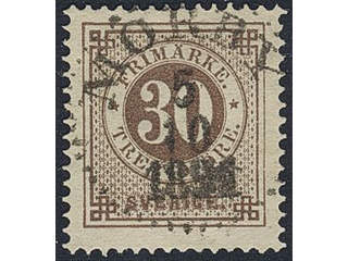 Sweden. Facit 47e used , 30 öre yellowish brown. EXCELLENT cancellation MÖRBY 5.10.1891.