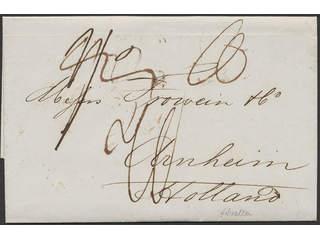 Gibraltar. Prephilately. Unpaid cover from Gibraltar 17 No 1854 sent to Arnhem, …