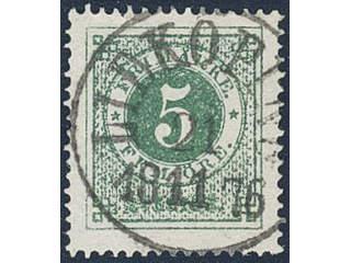Sweden. Facit 19g used , 5 öre dark green, smooth print. EXCELLENT cancellation …