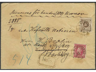 Sweden. Facit 45, 47, M county. W. WENNENHÖG 29.5.1891. Insured cover franked with 10+30 …