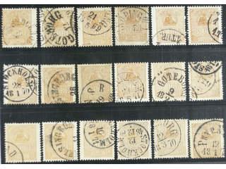 Sweden. Facit 14B used , 3 öre brown, type II, eighteen used copies. Shades, varieties, …