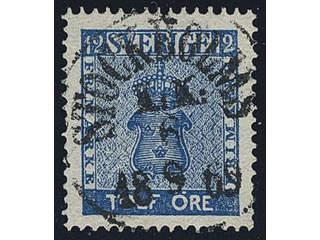 Sweden. Facit 9b3 used , 12 öre dark blue, perforation of 1865. EXCELLENT cancellation …