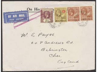 Antigua. Nice letter (1931) intended for air mail but sent by surface mail. On the …