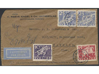 Sweden. Air mail cover Facit 247, 248, 250 , 10+15+2x25 öre on air mail cover sent from …