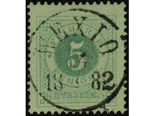 Sweden. Facit 30e used , 5 öre pale bluish green. EXCELLENT cancellation WEXIÖ 14.x.1882.