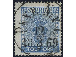 Sweden. Facit 9c3 used , 12 öre blue, perforation of 1865. EXCELLENT cancellation PKXP …