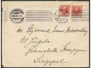 Denmark. Facit 70 cover , 2×10 øre on cover sent from KJØBENHAVN 29.6.09 to Singapore. …