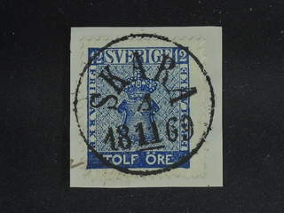 Sweden. Facit 9b3 on piece , 12 öre dark blue, perforation of 1865. EXCELLENT …