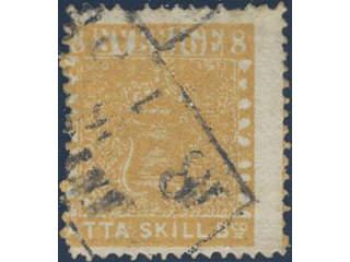 Sweden. Facit 4g v used , 8 skill orange-yellow, blurred print on medium thick paper, …
