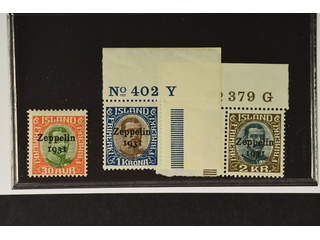 "Iceland. Facit 162–64 ★★ , 1931 ""Zeppelin 1931"" overprint SET (3). SEK2500"
