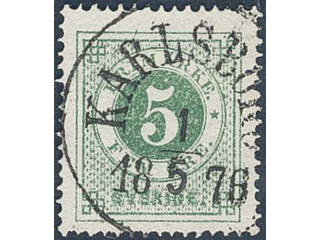 Sweden. Facit 19 used , 5 öre green. EXCELLENT cancellation KARLSBORG 1.5.1876. Tiny pin …