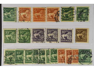 Sweden. Used 1920–34. Standing Lions, All different, e.g. F 140Ccx, 141bz, 142Abz+Ecxz, …