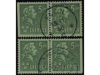 Sweden. Facit 324BC/CB used , 1940 Carl Michael Bellman 5 öre green, pair 3+4 and 4+3. …