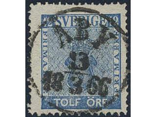 Sweden. Facit 9c2 used , 12 öre blue. EXCELLENT cancellation ÅBY 13.3.1866.