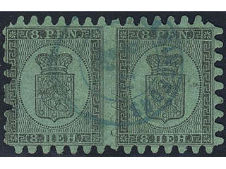 Finland. Facit 6v3C2 used , 1872 Coat-of-Arms Finnish values 8 p black on yellow-green …