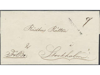 Sweden. B county. WAXHOLM, straight postmark. 2-fold cover sent to Stockholm. Ex. …