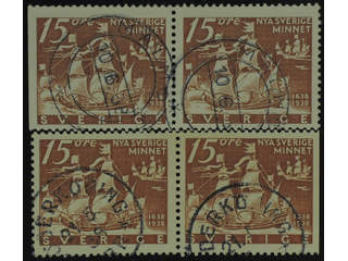 Sweden. Facit 262BC/CB used , 1938 New Sweden 15 öre pairs 3+4 and 4+3. SEK1400
