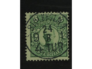 Sweden. Facit 79 used , 5 öre green. EXCELLENT cancellation STOCKHOLM 1 4.TUR 24.8.1911.