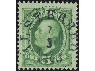 Sweden. Facit 52 used , 1891 Oscar II 5 öre green. EXCELLENT cancellation ALSTERBRO …