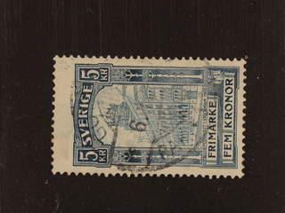 Sweden. Facit 65vm1 used , 1903 Posthuset 5 Kr blå, omvänt vm. Några mindre fläckar. …