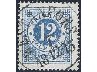 Sweden. Facit 21e used , 12 öre ultramarine-blue on ordinary paper. EXCELLENT …