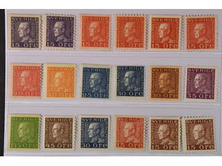 Sweden. ★★ 1920–36. GV Coil. All different, e.g. F 175A+C, 176A+C, 177Ac+C, 180a, 181a, …