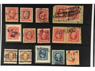 Sweden. Lot stämplar foreign pmk's o1880's–1910s on stock card. Danish and Finnish …