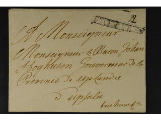 """Sweden. A county. STOCKHOLM, ribbon postmark. Type 0 on cover dated """"1711"""" by pen, sent …"""