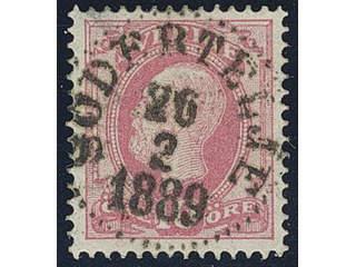 Sweden. Facit 45b used , 1886 Oscar II with posthorn on back 10 öre pale violet-carmine. …