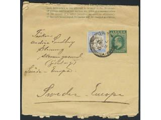 Jamaica. Michel 35 cover , 1903 Coat-of-arms 2½ d ultramarine/grey-brown on postal …
