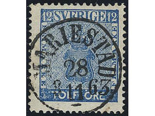 Sweden. Facit 9c2 used , 12 öre blue. EXCELLENT cancellation MARIESTAD 28.11.1863. One …