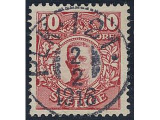Sweden. Facit 82 used , 10 öre red. EXCELLENT cancellation PLK 121 2.2.1916.