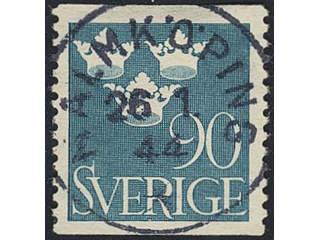 Sweden. Facit 293 used , 1939 Three Crowns 90 öre light blue. EXCELLENT cancellation …