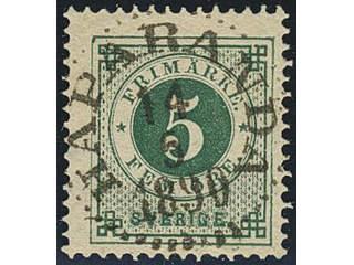 Sweden. Facit 43e used , 5 öre emerald green. EXCELLENT cancellation HAPARANDA 14.5.1890.