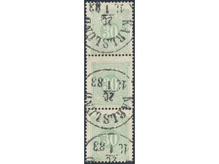 Sweden. Postage due Facit L18 used , 30 öre green, perf 13 in strip of three cancelled …