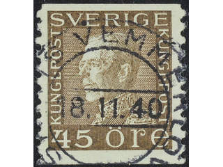 Sweden. Facit 191b used , 45 öre brown on white paper. EXCELLENT cancellation 8.11.40. …