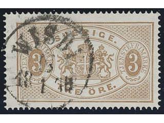 Sweden. Official Facit Tj1c used , 3 öre grey-brown, perf 14. Superb but somewhat …