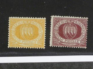 San Marino. Michel 6–7 ★ , 1890 Coal-of-Arms. Very fine copies with small hinge …