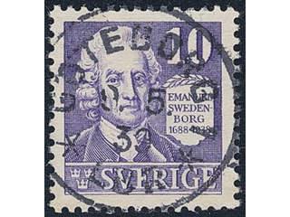 Sweden. Facit 259C used , 1938 Emanuel Swedenborg 10 öre violet, perf on four sides. …
