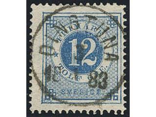 Sweden. Facit 32 used , 12 öre blue. EXCELLENT cancellation DINGTUNA 3.1.1883.
