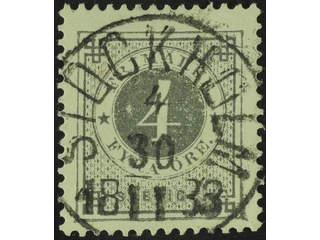 Sweden. Facit 29c1 used , 4 öre dark grey on white paper. EXCELLENT canncellation …