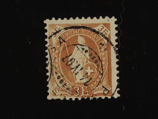 Switzerland. Michel 80C used , 1905 Standing Helvetia 3 Fr yellow-brown perf 11½ × 11 …
