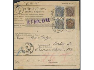 Denmark. Facit 36, 28, 33 cover , 2x3+16+50 øre on address card for international parcel …