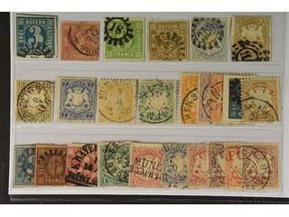 Germany Bavaria. Used 1849–1900. All different, e.g. Mi 2 I, 3, 5, 11, 16-17, 20-21, …