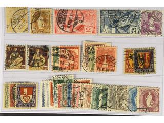 Switzerland. Used 1882–1924. All different, e.g. Mi 56, 64, 72 III, 73, 100, 108, …