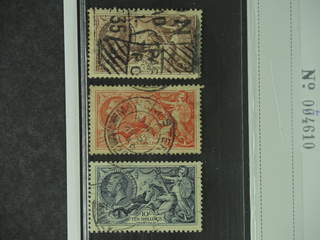 Britain. Michel 186–88 on piece , 1934 King George V with wmk Block Cypher SET (3). 10 s …