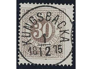 Sweden. Facit 25h used , 30 öre greyish brown. EXCELLENT cancellation KUNGSBACKA …