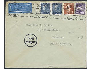 Sweden. Air mail cover Facit 146C, 185, 267C , 10+15+2x30 öre on insufficiently prepaid …