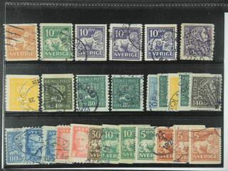 Sweden. Used 1920-36. Small coilstamps, All different, e.g. F 141bz, 144Acc, 145E+Ecx, …
