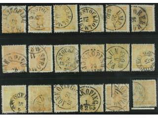 Sweden. Facit 10 used , 24 öre orange, eighteen used copies. Shades, varieties, …